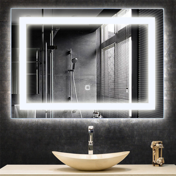 LED Wall-Mounted Mirror - Illuminated mirror light helps you a clearer view of your skin. Touch button control to turn and off the LED lights.