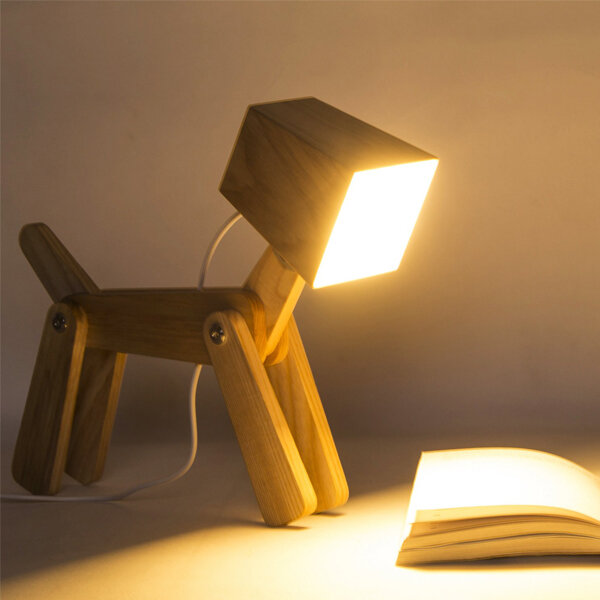 Cute Dog Lamp Touch Sensor - Stylish dog shaped kids lamp, made of beautiful asche wood. The touch sensor switch is at the top of dog's head. You can choose from 3 illumination settings, high brightness, mid brightness and low brightness.