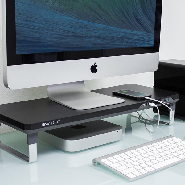 Satechi Smart Monitor Stand - Lift up your monitor for the best view.  It includes 4 easy access USB ports also headphone and microphone port abreast.