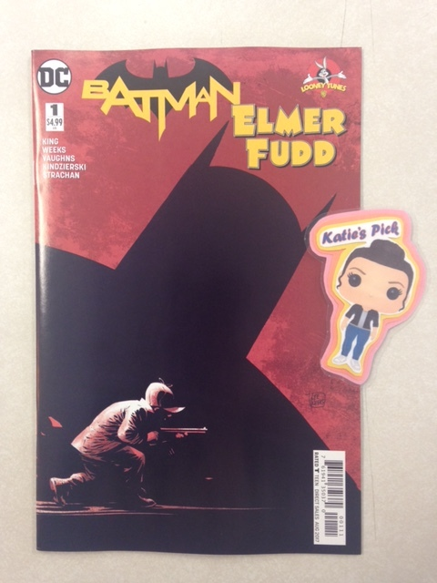 Batman/Elmer Fudd Special #1 - Katie's PickAfter a chance meeting with billionaire Bruce Wayne, Elmer Fudd's obsession quickly escalates into stalking Batman through the dark alleys and high-class social settings of Gotham City. Welcome to Bat Season! And the bonus Looney Tunes backup story features DC characters written by Tom King and artwork by Byron Vaughns.