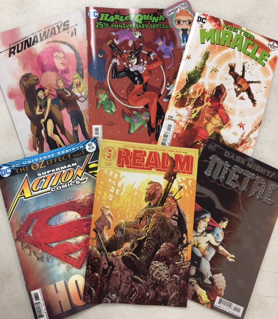 Umm... Everything? - Heather's PickAction Comics #987, the first issue of the highly anticipated 'Oz Effect'... The Realm #1... Mister Miracle #2... The Runaways #1... Harley Quinn 25th Anniversary Special... Dark Nights: Metal #2... And no many more that are not pictured. Just... Everything!