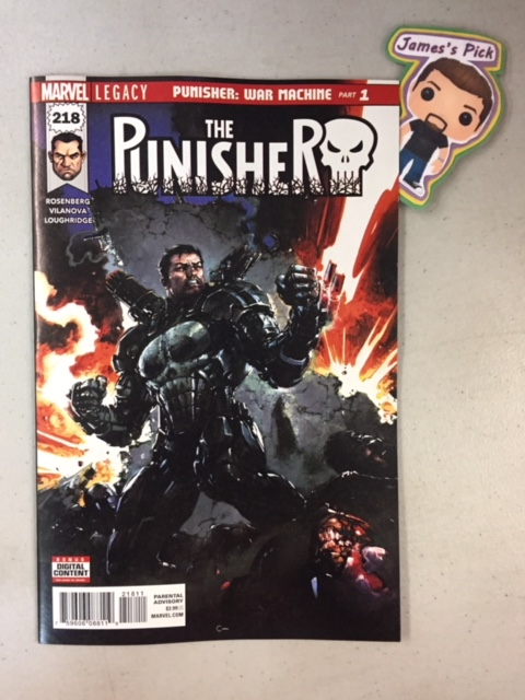 The Punisher #218 - James's PickFor years, Frank Castle has been fighting a one-man war against criminals who endanger the innocent, but when a certain one-eyed operative offers him the tools to take his fight global...how could he say no? Find out how Frank found his way into the WAR MACHINE Armor! PLUS: Includes 3 bonus MARVEL PRIMER PAGES!