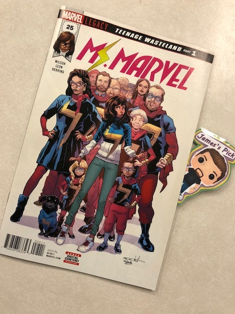 Ms. Marvel #25 (Legacy) - James' PickTeenage Wasteland Part 1Jersey City still has a need for a super hero, but why has KAMALA KHAN, a.k.a MS. MARVEL, vanished?  In the wake of her disappearance, the city's newest hero RED DAGGER and even ordinary citizens attempt to carry on her Legacy of heroism.  MS. MARVEL is nowhere...but also everywhere at once!    And when an old enemy re-emerges, will anyone be powerful enough to truly carry the MS. MARVEL legacy but Kamala? PLUS: Includes 3 bonus MARVEL PRIMER PAGES!