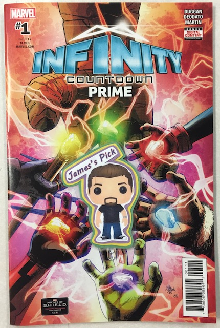Infinity Countdown Prime #1 - James' PickWriter: Gerry DugganArt: Mike Deodato Jr., Frank Martin, Cory PetitContains 30 pages of all-new story from Gerry Duggan (Deadpool) and Mike Deodato Jr (Invincible Iron Man), with additional bonus content! This brand-new story is the beginning of the saga fans won't want to miss. The Infinity Stones. Individually, they grant their wielder great power. Together, they grant the power of a god. Newly reformed and scattered throughout the universe, these artifacts allow the ones who claim them their heart's desire. Now, as their locations are discovered, forces converge for a battle that will begin the universe down a dark path to the END. Jump onto this exciting ride that will lead to the biggest Infinity yet! Plus: The saga of the Infinity Stones-what they are and how they came to be! From creation to destruction to re-creation, this prose primer will tell you everything you need to know about the legendary cosmic gems!