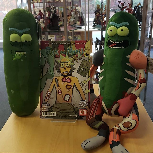 Got a load of new stuff in today everyone! Including this new #picklerick with all the limbs! Also dont forget to pick up your copy of the #giant #rickandmortycomic coming out this #saturday the  17th for #localcomicshopday #2018  #comics #amazingcomicshop #newbooks #adultswim