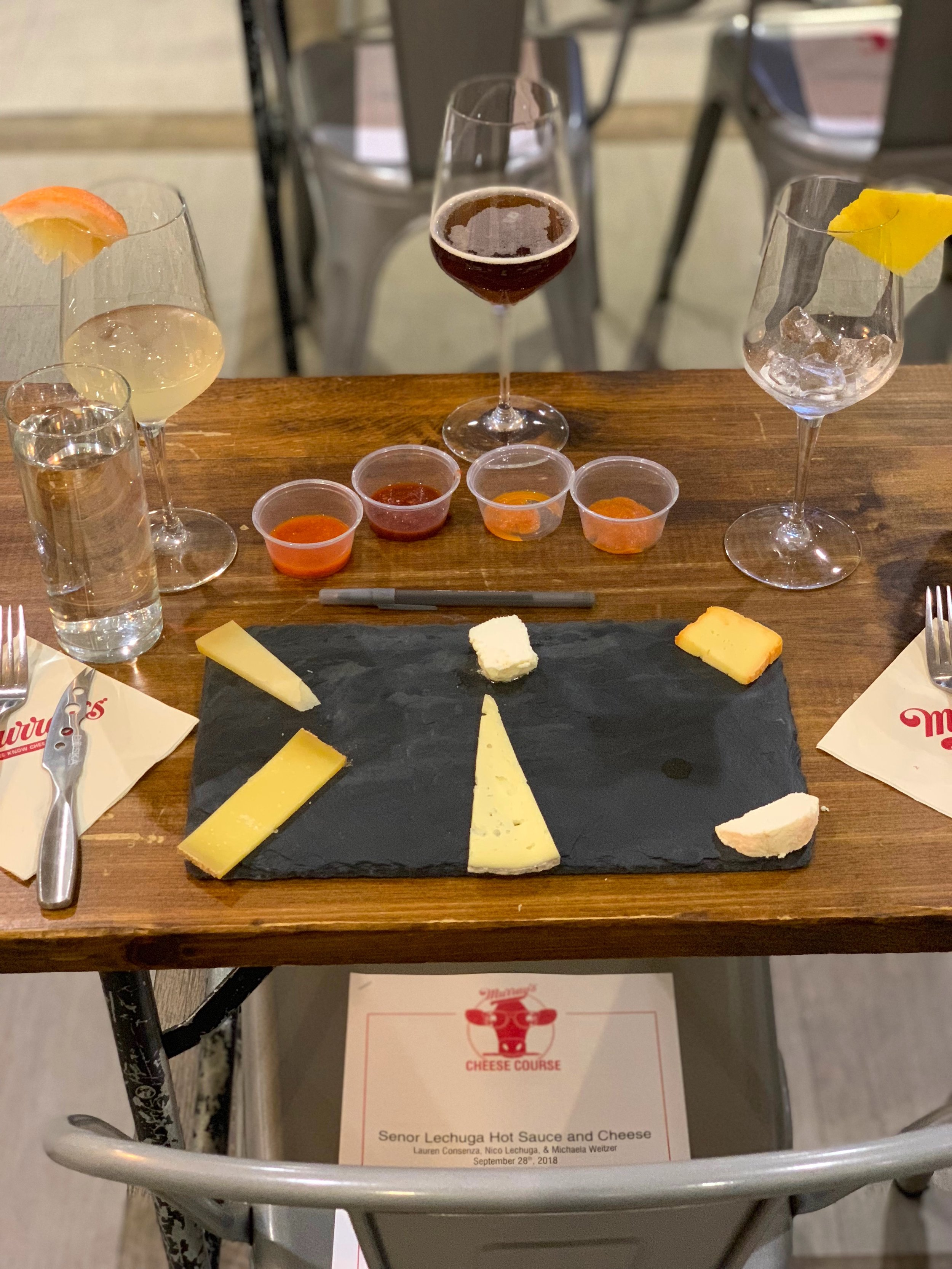 MURRAY'S CHEESE   Name a more iconic duo than hot sauce and cheese!  At these fun classes we co-host with the super knowledgable and talented Murray's team, we pair our hot sauces with their cheeses for an unbelievable tasting and learning experience.  There's also Señor Lechuga Hot Sauce infused spirits and cocktails made custom for the classes, as well as unlimited beer, to complement the cheeseboard selections.  These classes always sell out in advance so check the Murray's calendar for our next one!