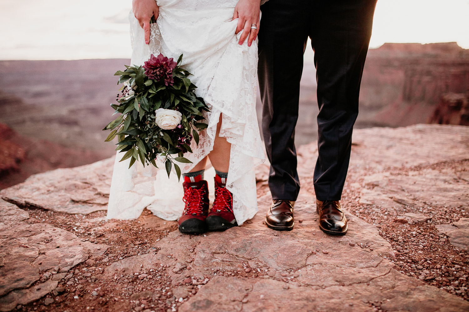 Bride in hiking boots. Moab Adventurous Photographer