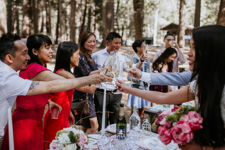 Celebratory drinks Yosemite National Park Wedding