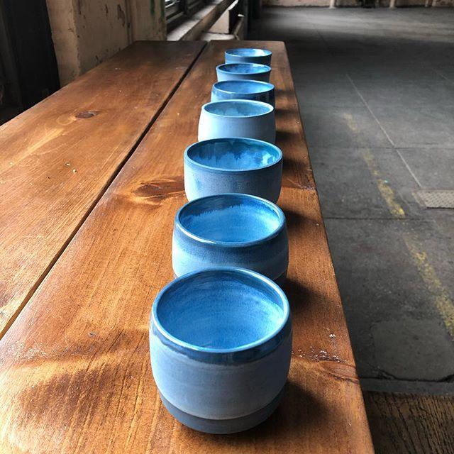 More blue porcelain .... small sippers.... fun foreshortened shot.... . . . #porcelain #pottery #handmade #chuckmorrisceramics #ceramics #ceramicart #coloredclay #coloredporcelain #clay #glaze #wheelthrown #pottery #contemporaryceramics #instaceramics #theclaystudiophl #tcs_associates #artist  #madeatBOK