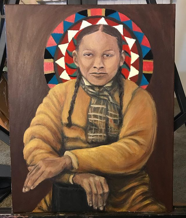 Progress shot . . . . . . . . . . . #shadesxjay #lumbee #native #nativeAmerican #lumbeeprode #lumbee #history #acrylic #portrait #paint #art #satx #work #underpainting #indigenous #yellow #history  #pinecone #patchwork