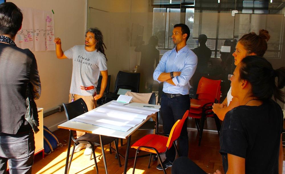 Teams run through their ideas and get some last minuet advice