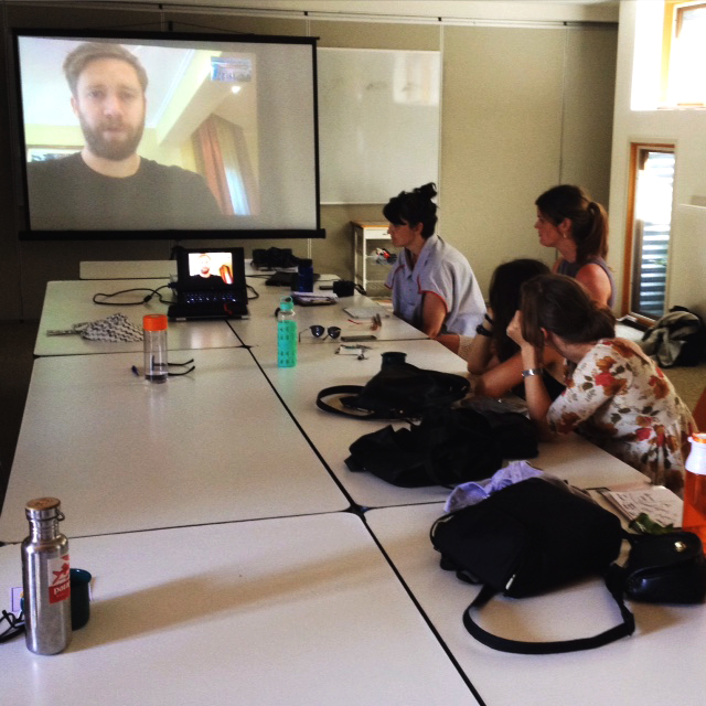 Simone Griffiths skyping in for his mentor session from Nairobi