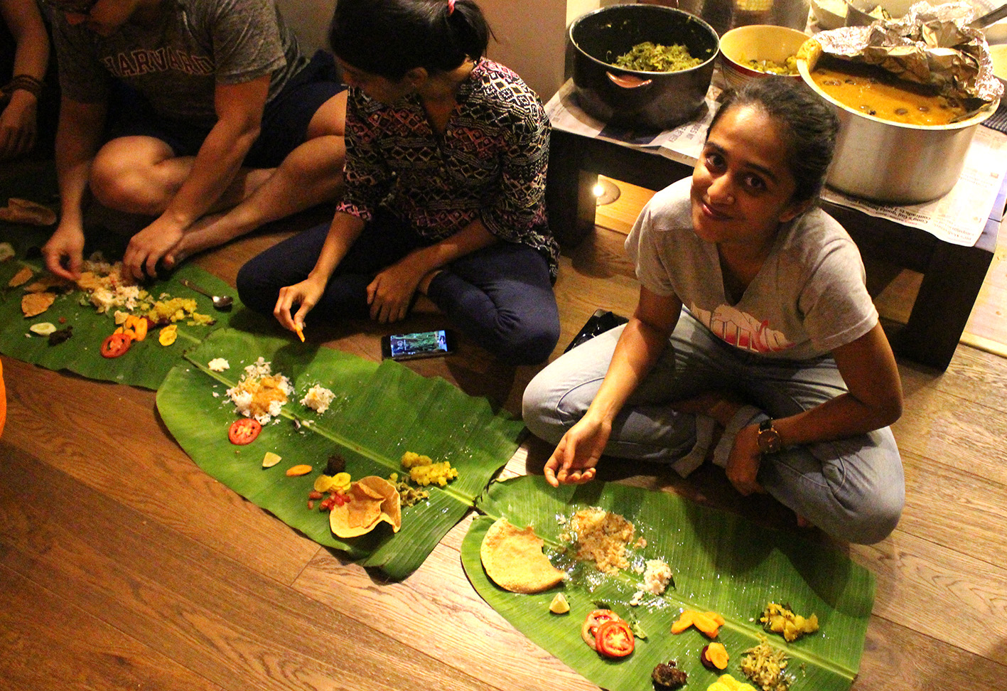 An abundant feast lovingly shared and served on banana leaves