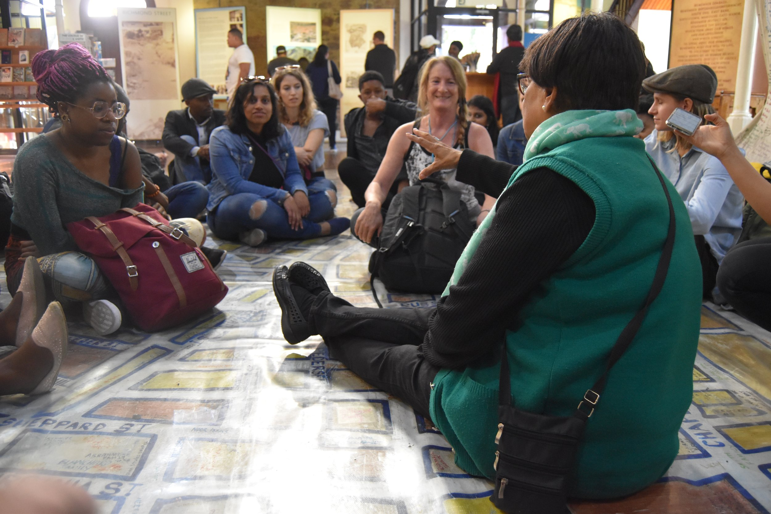 Aunty Ruth and the Cape Town fellows sit on the memory map of the once vibrant and diverse community of District Six that was disrupted by apartheid.