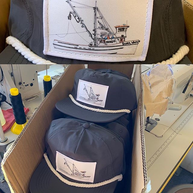 New deck boss hats finished by local @sanjuansewing just in time for harvest delivery!! Patch art features the beautiful hand-drawn illustration of the Silver Wave F/V by @thescow. Will be available for purchase at pick up for $25! Limited quantities! #wildsalmontowildmountains