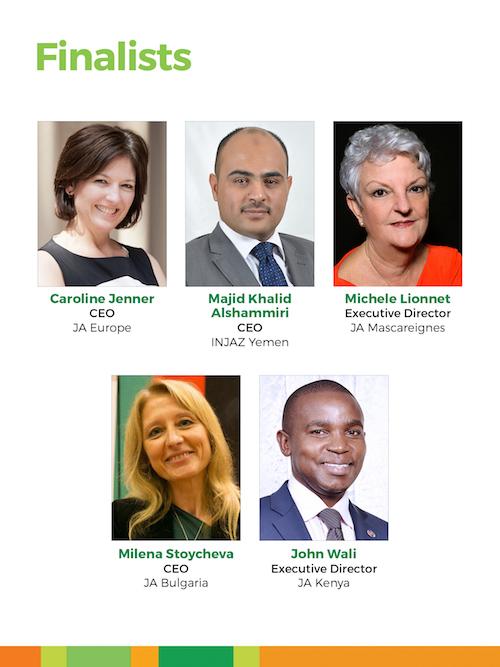 Copy of Winners: Majid Khalid Al-shammiri, CEO, INJAZ Yemen,and Caroline Jenner, CEO, JA Europe (tie)