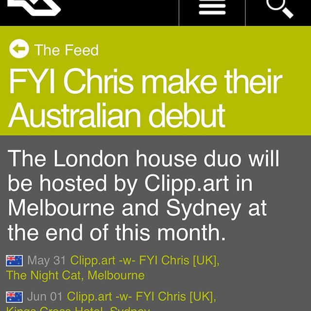 London house duo FYI Chris make their Australian debut end of this month at a parties in Melbourne and Sydney, alongside a handpicked selection of clipp.art pals. Snap dem tickets & we'll see you in the dance! 🎫