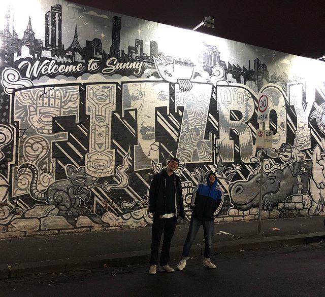 Touchdown FYI Chris ready for our clipp.art partay at The Night Cat & looking forward to getting warm on the dance floor tonight! #welcometosunnyfitzroy #fuckitscold #dancefloorheaters