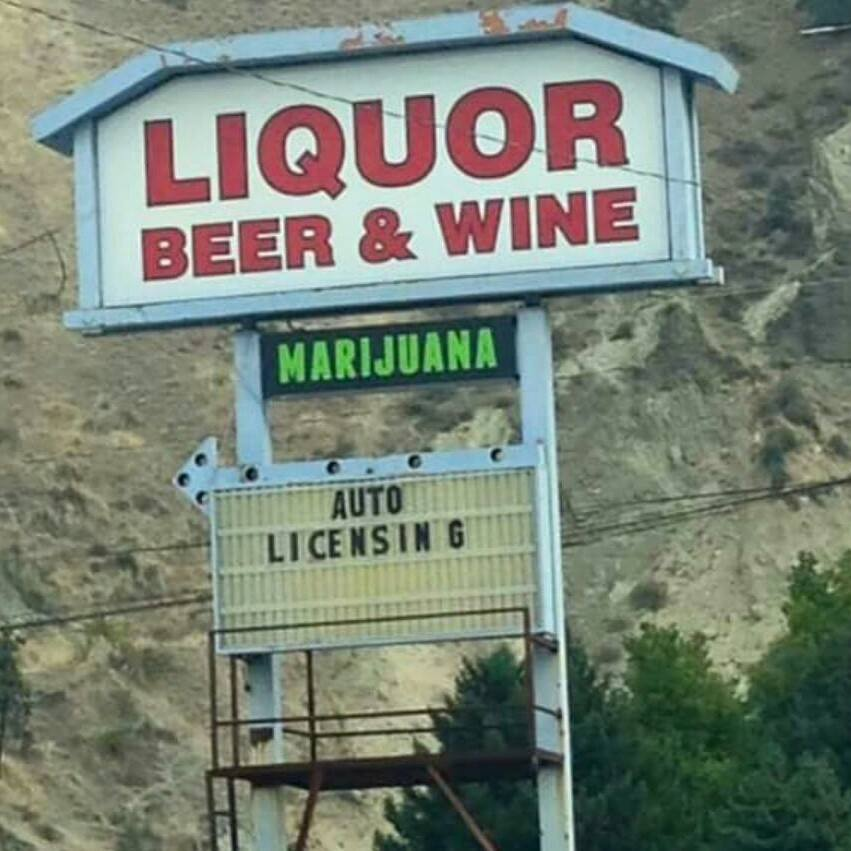 That may be the most photographed sign in Washington State. Despite the weird mix of businesses & the ugly building Old Mission Spirits is still the best place to buy a bottle in these parts.