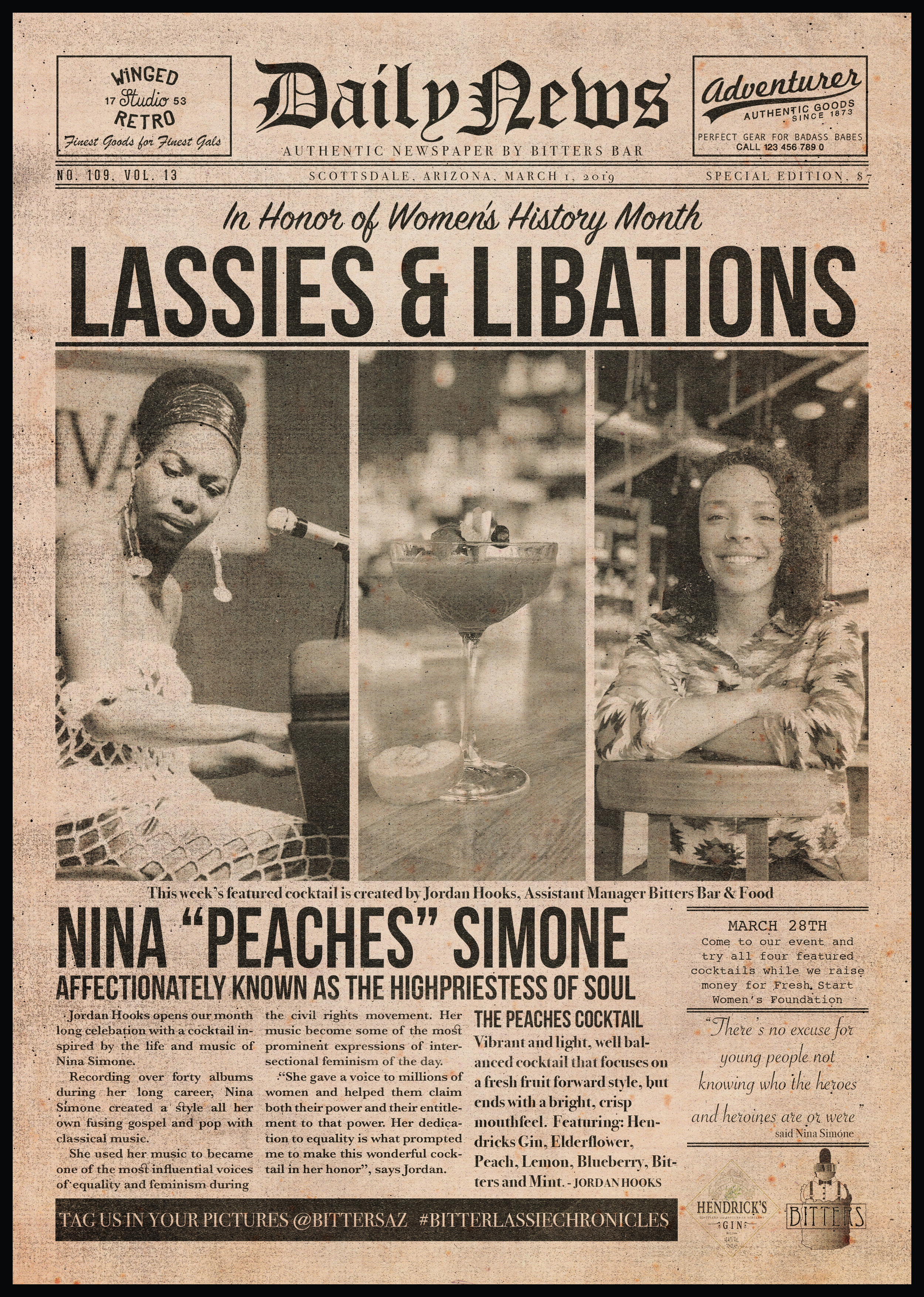 "Week one ""newspaper"" featuring Nina Simone, Jordan Hooks and her cocktail honoring Nina Simone."