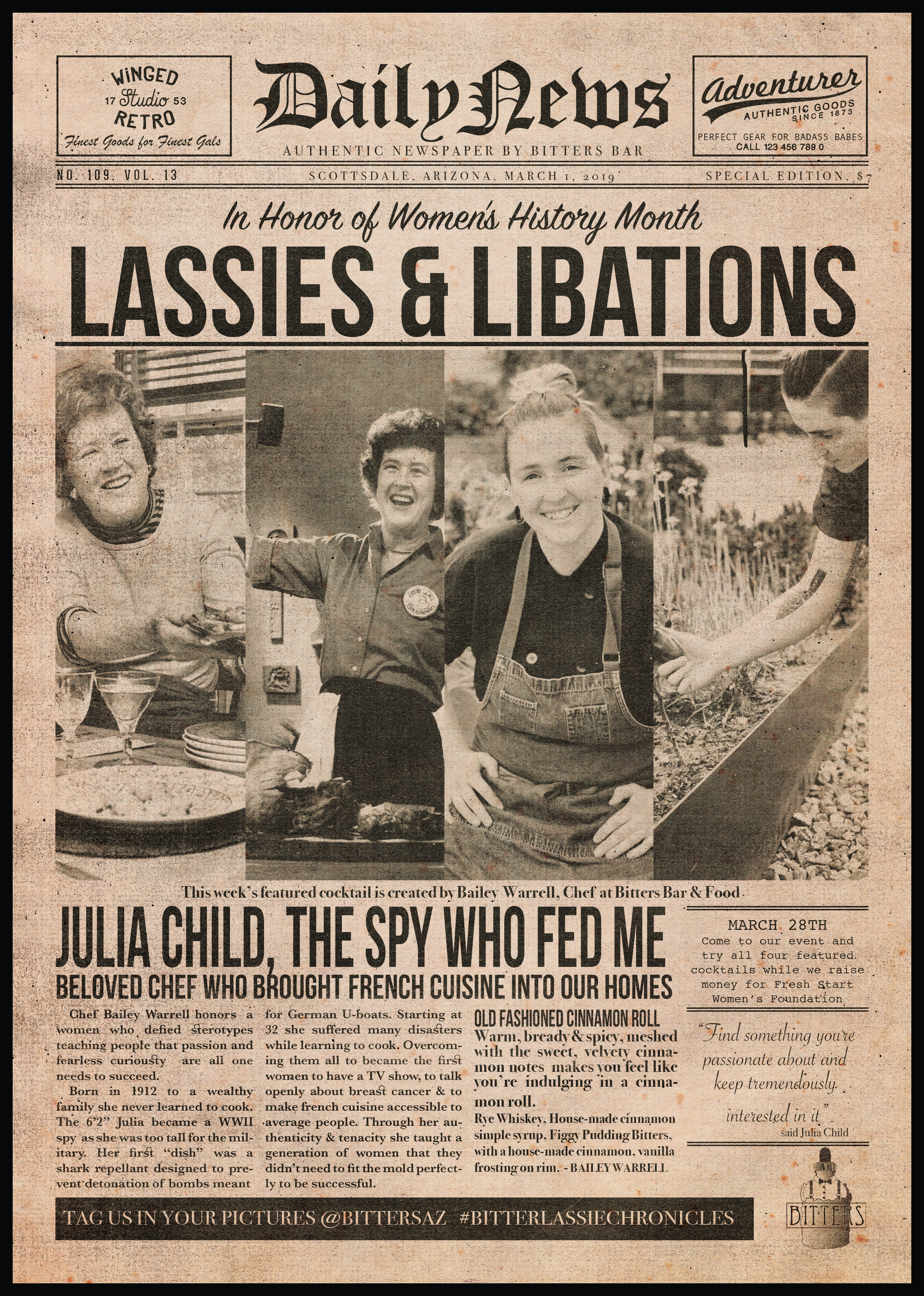 """Week two """"newspaper"""" featuring Julia Child, Chef Bailee Warrell and the Cinnamon Roll Old Fashioned."""