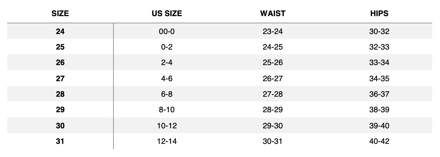 Size Guide - Bottoms