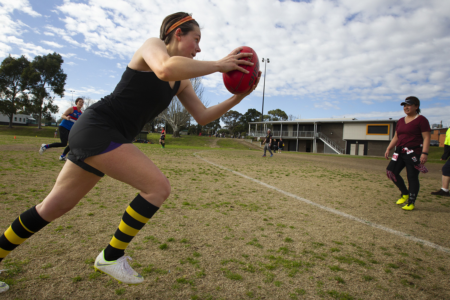 A background in rugby provided some insight for Preston into the physical team game of Australian Rules football. But what captured her enthusiasm most was the 360 degree action, and the strategic nature of the contest - what she calls the 'mental aspect' of the game.