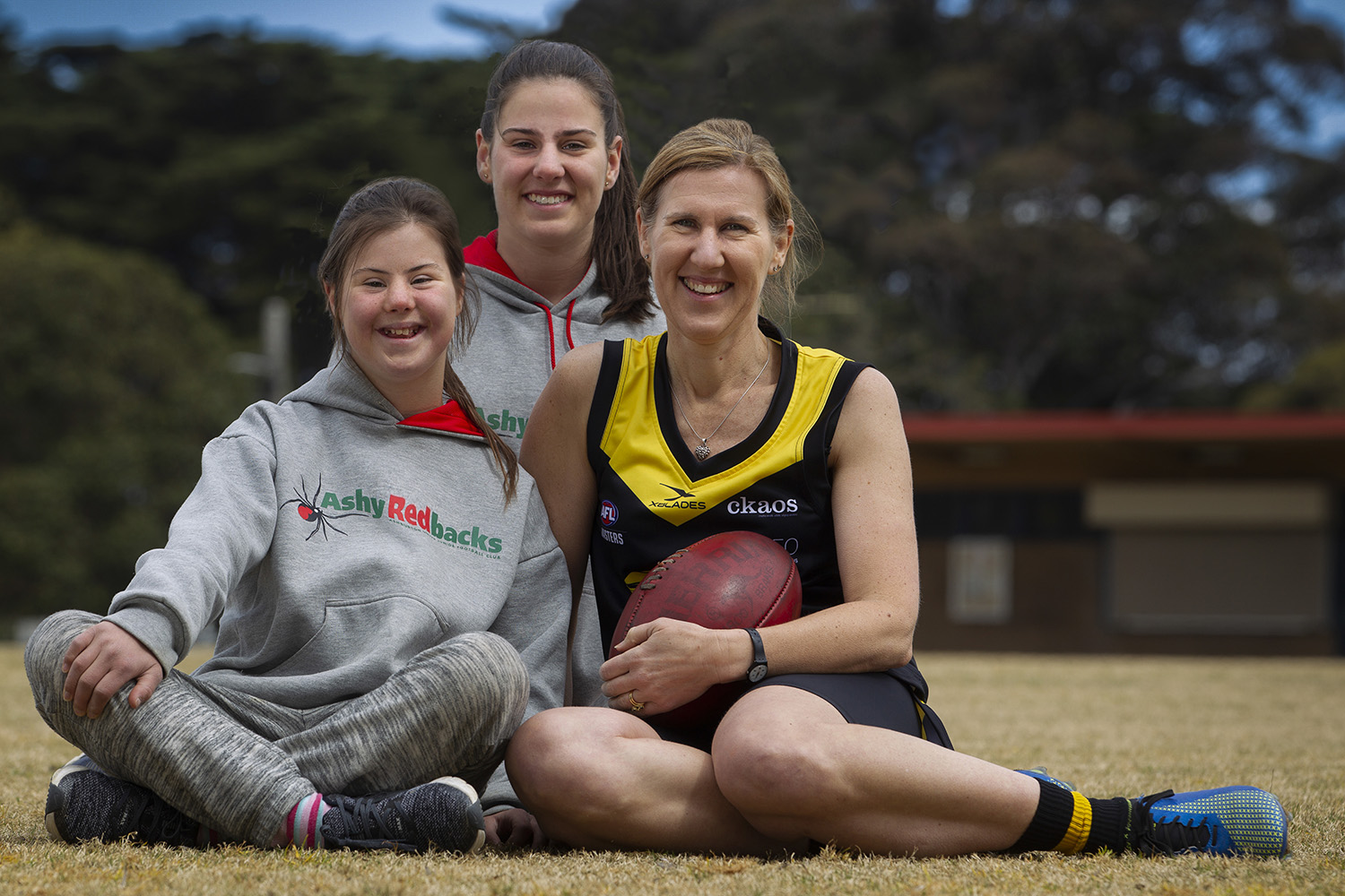 Two generations of football-playing women became competitors in reverse order! Robyn Nichols now plays the game with her three daughters. Eldest Tayla (behind) got her mum interested in playing. Middle daughter Sophie (left) plays, whilst youngest Lilly is also competing.
