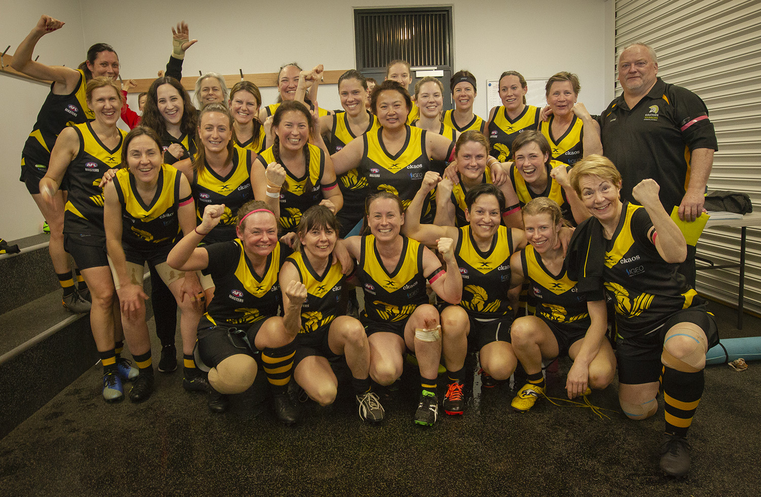 "By their final game the Waverley Warriors women's masters team had taken their skills to new levels. Coach Peter ""Pants"" Nash (right) was impressed by their dedication and thirst for new information."