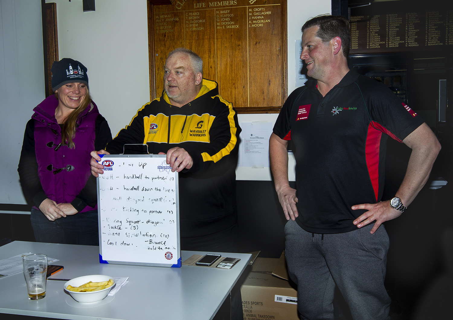 Competition coordinator Jill Chalmers with the Waverley Warriors coaching panel - coach Peter Nash and assistant coach Andrew Buckland - on the night of the jumper presentations. It proved to be a great night for the club and an emotional night for the players!