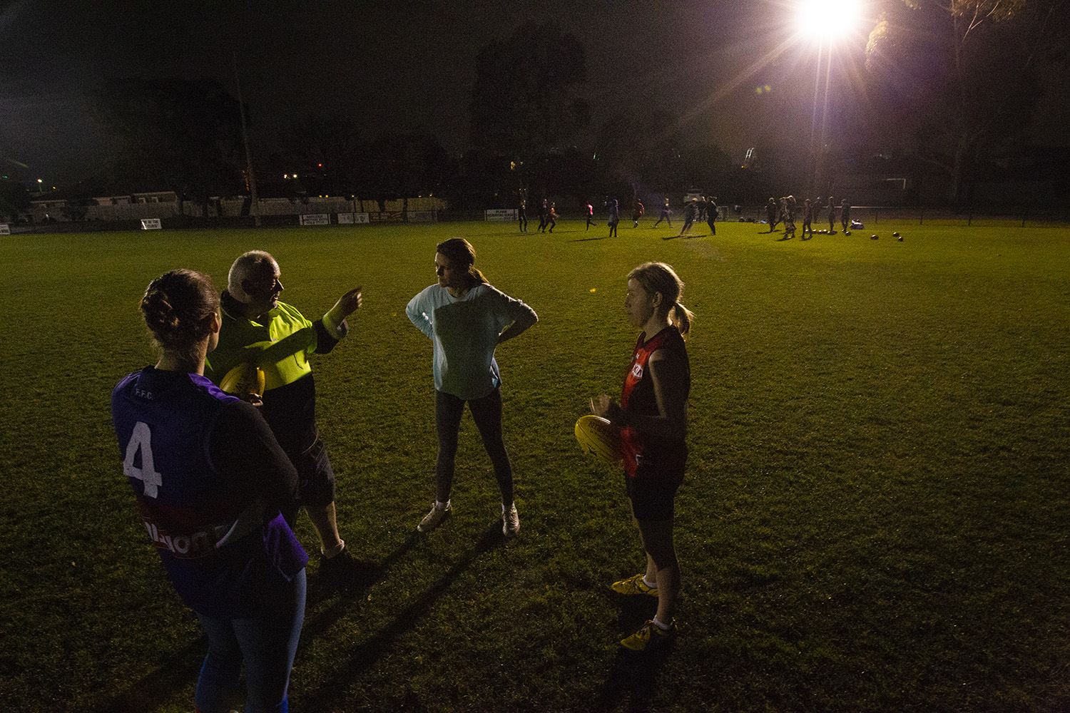 Most training was at night, using one end of the oval used for the masters men's training. Despite the frequently miserable Melbourne winter conditions, the team was enthusiastic and eager to learn.