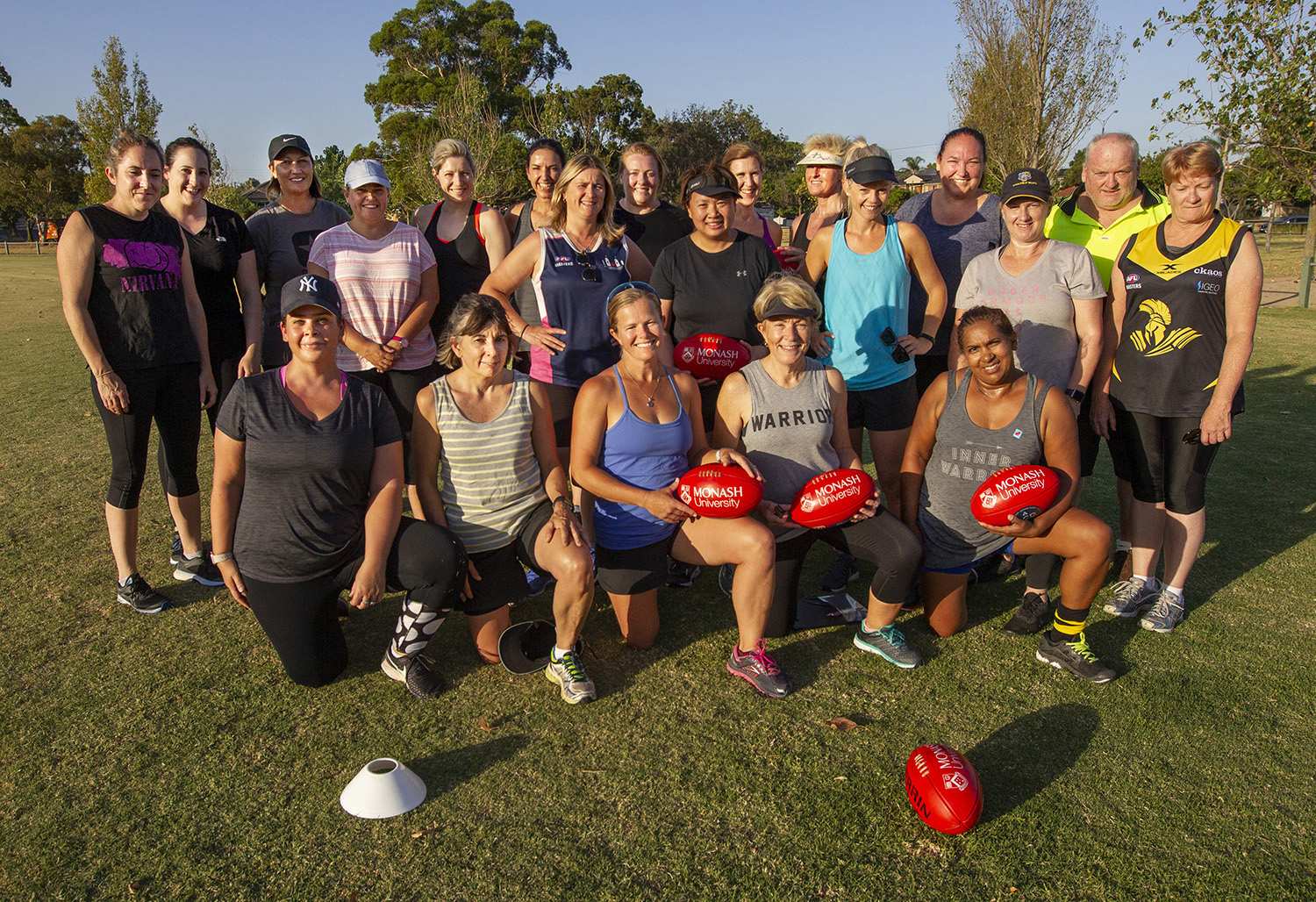Team training in preparation for season 2019. A group of players have moved on, but a new cohort is keen to tackle the challenge of Women's Masters football with Waverley Warriors.