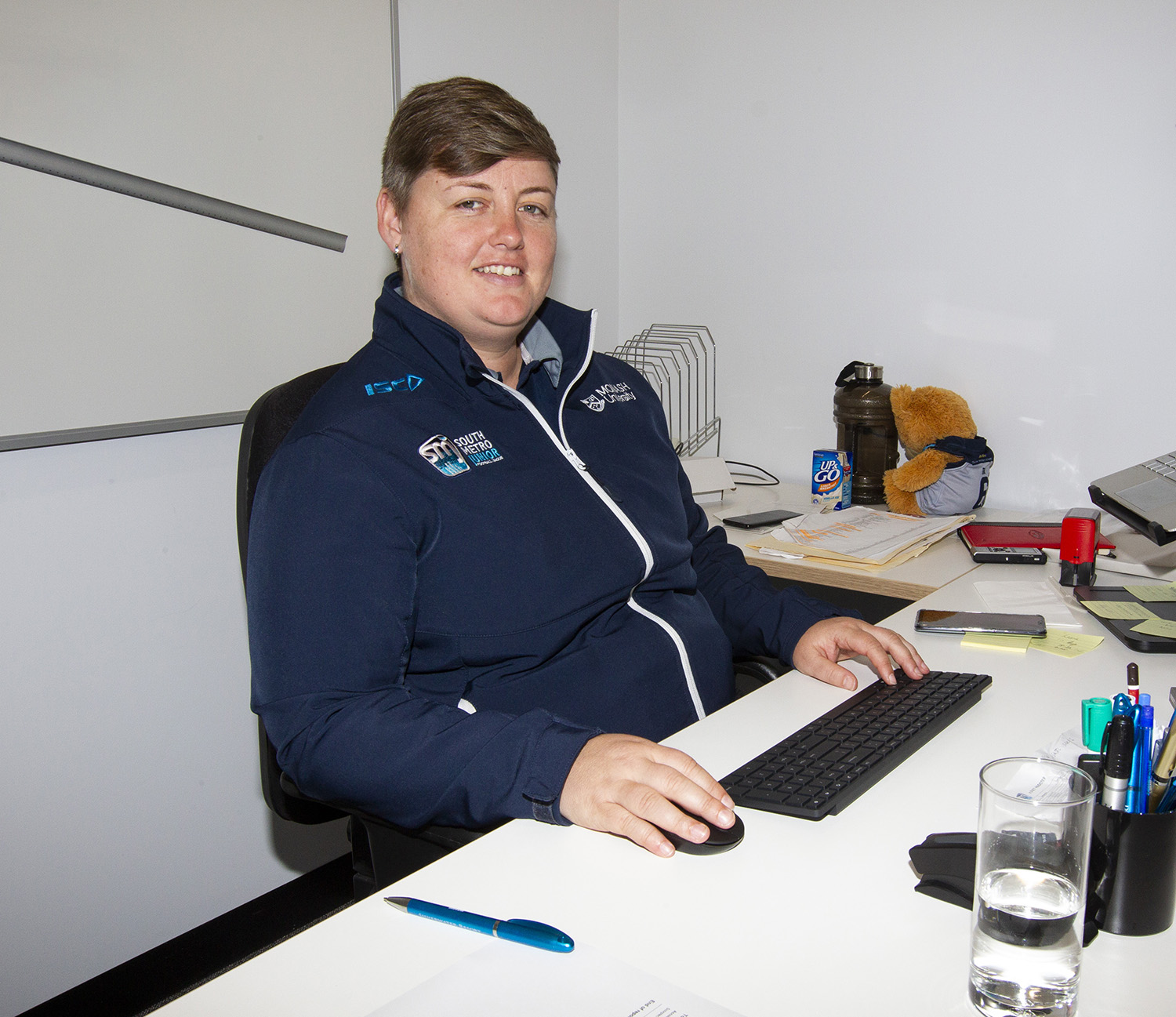 Emily Beventyre works as General Manager of South Metro Junior Football League, which is based at St. Kilda FC's new complex at Moorabbin.