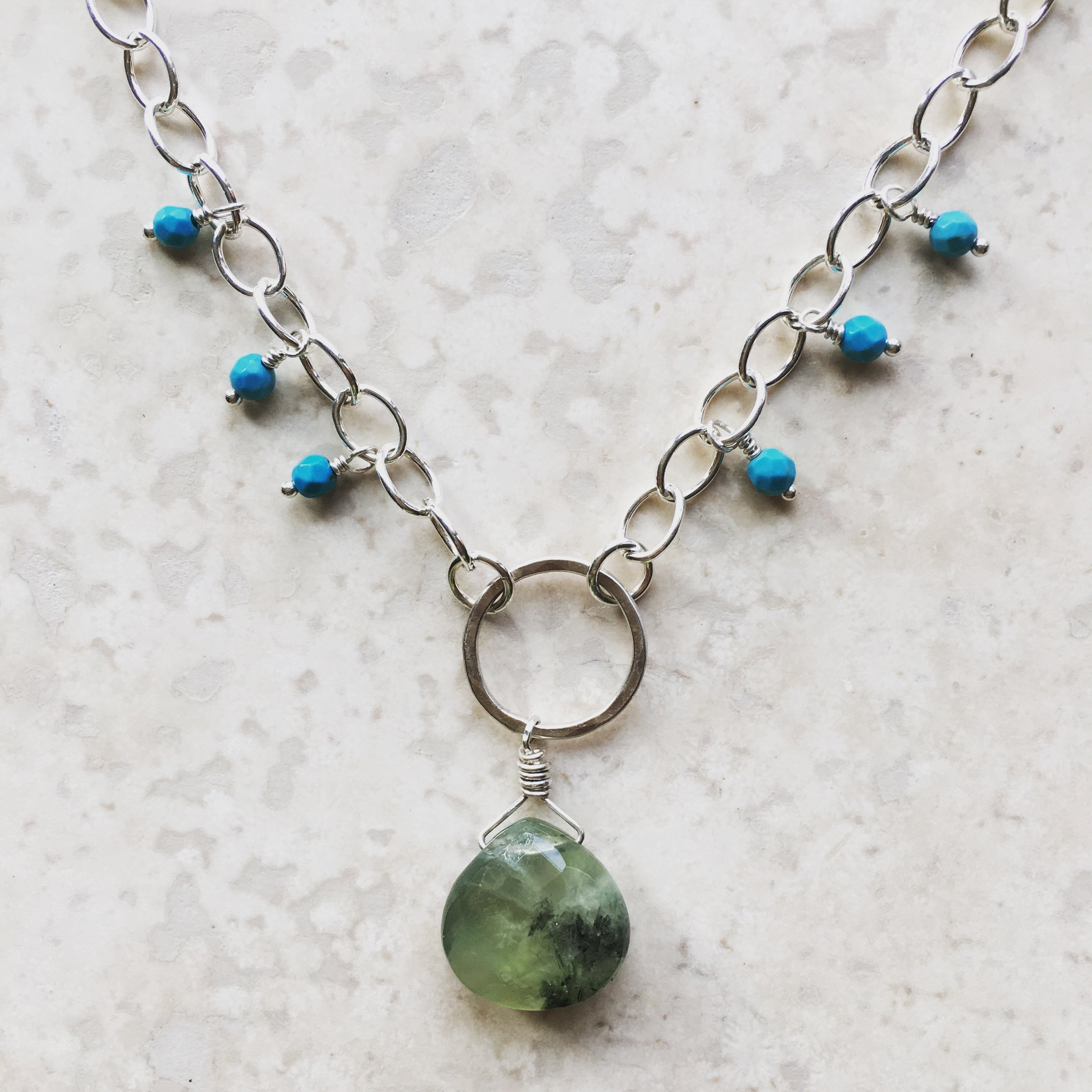 Here's the prehnite with the turquoise!