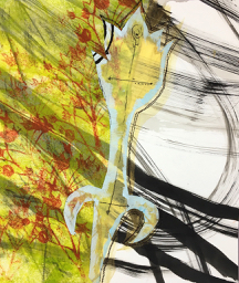 Day 3 - Paper, trace paper, silk gauze, thermofax prints, paint, free-motion stitching
