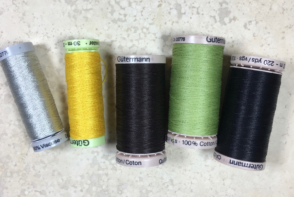 Mmmm, new thread. - My go-to: Gutermann. Love the colors, the different types. Left to right: viscose, polyester, 3 cotton quilting threads.