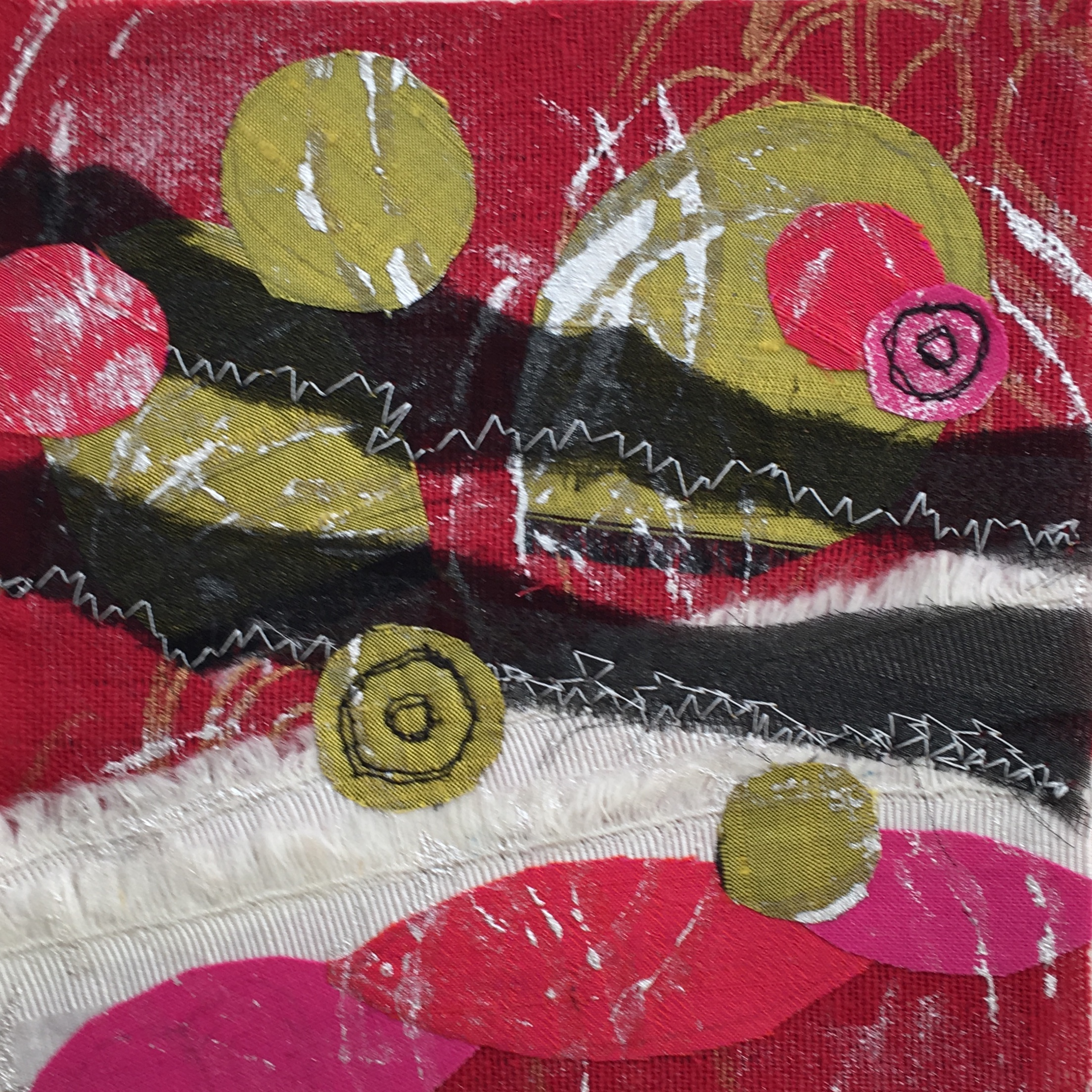Day 16 - Reclaimed fabric, silk, prints, free-motion stitching.