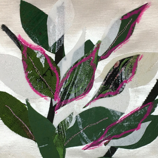 Pink? - Day 20: Cotton, silk, hemp/silk, prints, paint, oil stick, free-motion stitching.