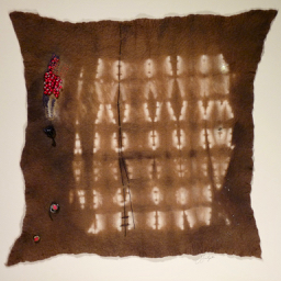 Doe, 2009 - This is one of my early examples. The narrative refers to an accident involving a deer and my car. The techniques I used are resist-dye on merino wool and hand stitching & beading.