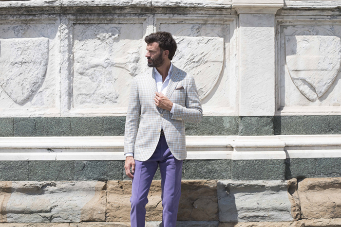 Fall in love with this pastel plaid blazer made from a lightweight cashmere and silk blend. Then match it with purple cotton trousers for a rakish look
