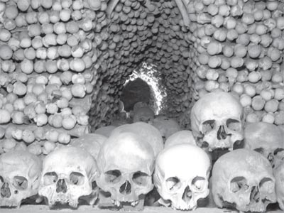 "Sedlec Ossuary, The Bone Church. Kutna Hora, Czech Republic. From ""Field Notes for the Graveyard Enthusiast."" Photo: MaRgie Hemley."