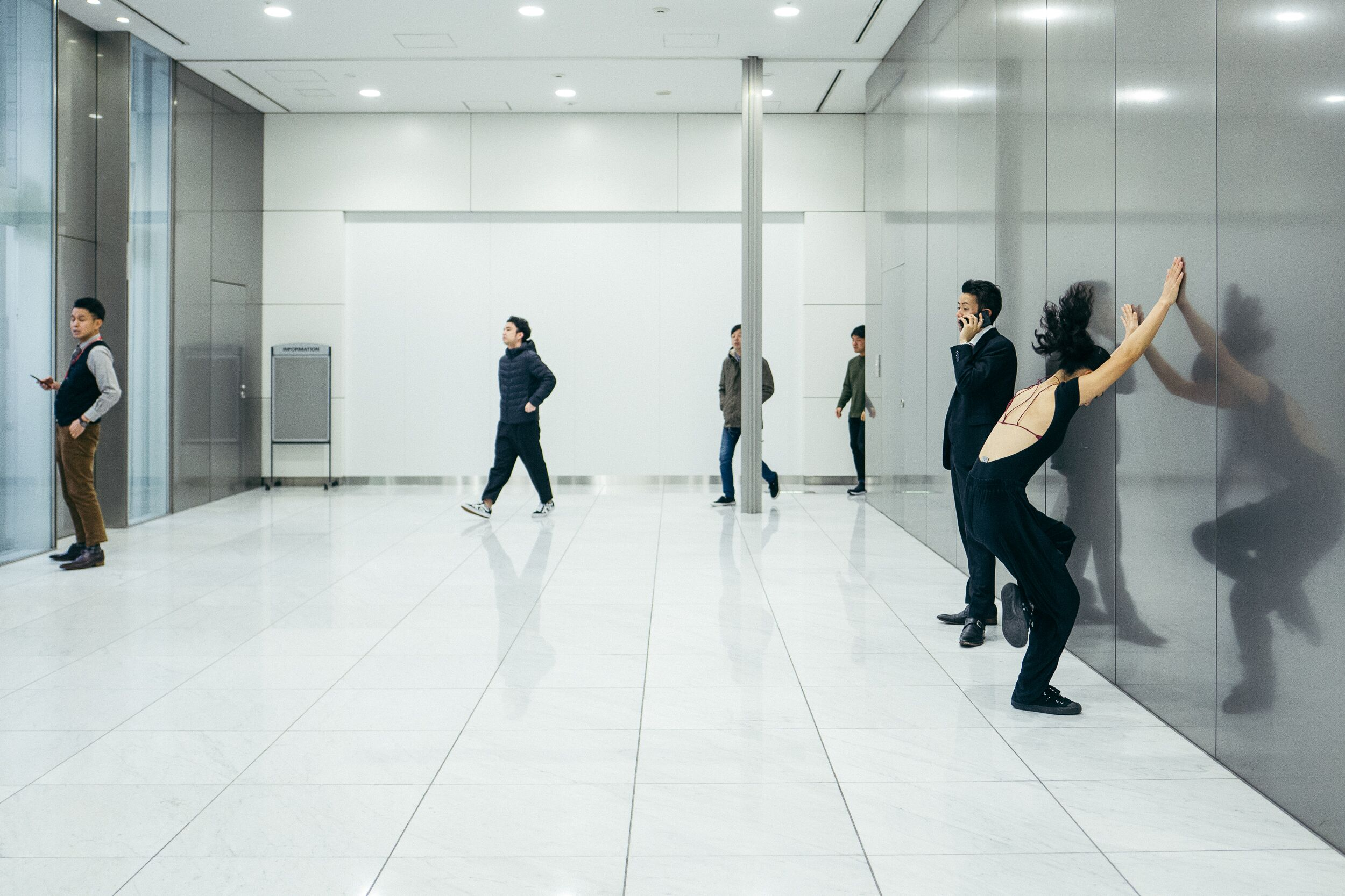 Dancing in the office in Shibuya disctrict, Tokyo