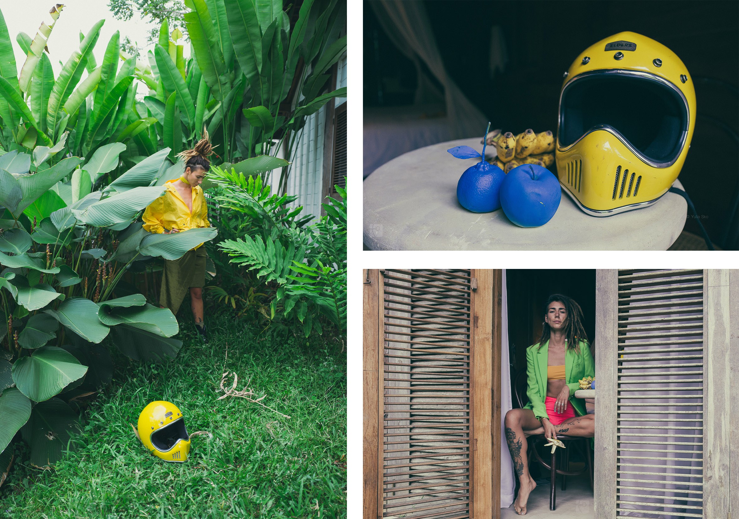 a collaboration with an artist in Bali: tropical theme, yellow helmet
