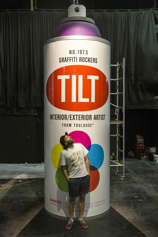 Tilt Spraycan installation, Spectrum 2015 Christchurch – credit Luke Shirlaw