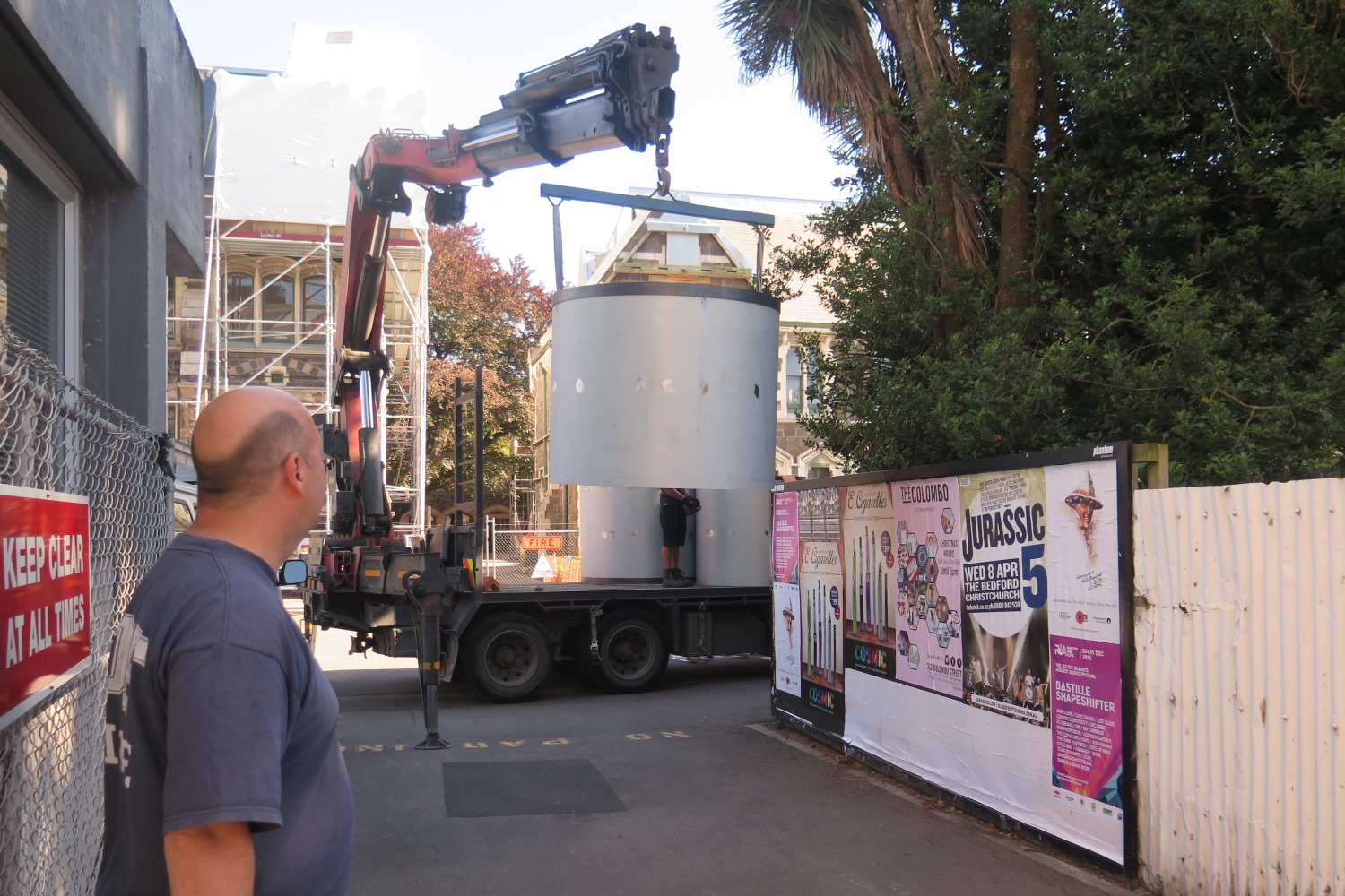 Delivery of giant spray cans, Spectrum 2015 Christchurch