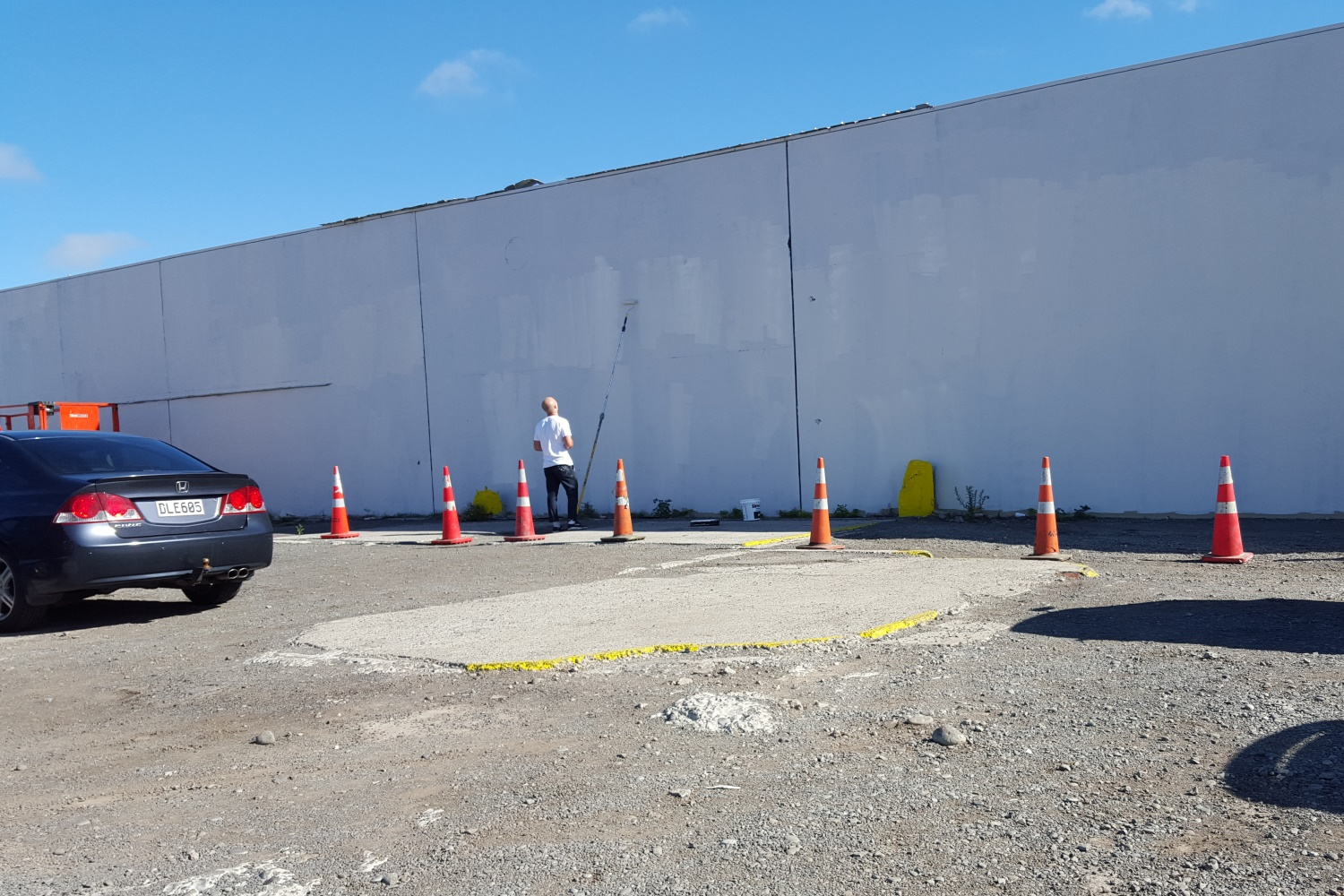 Base coat down ready for mural, Word Up 2016 Christchurch