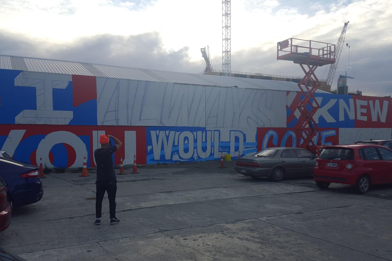 Mural taking shape, Word Up 2016 Christchurch