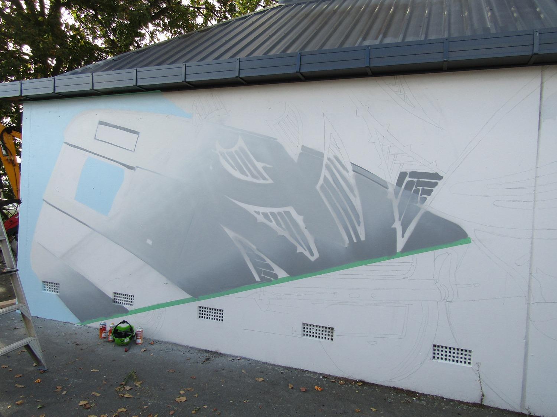 The beginnings, Dcypher Mural 2016 Christchurch