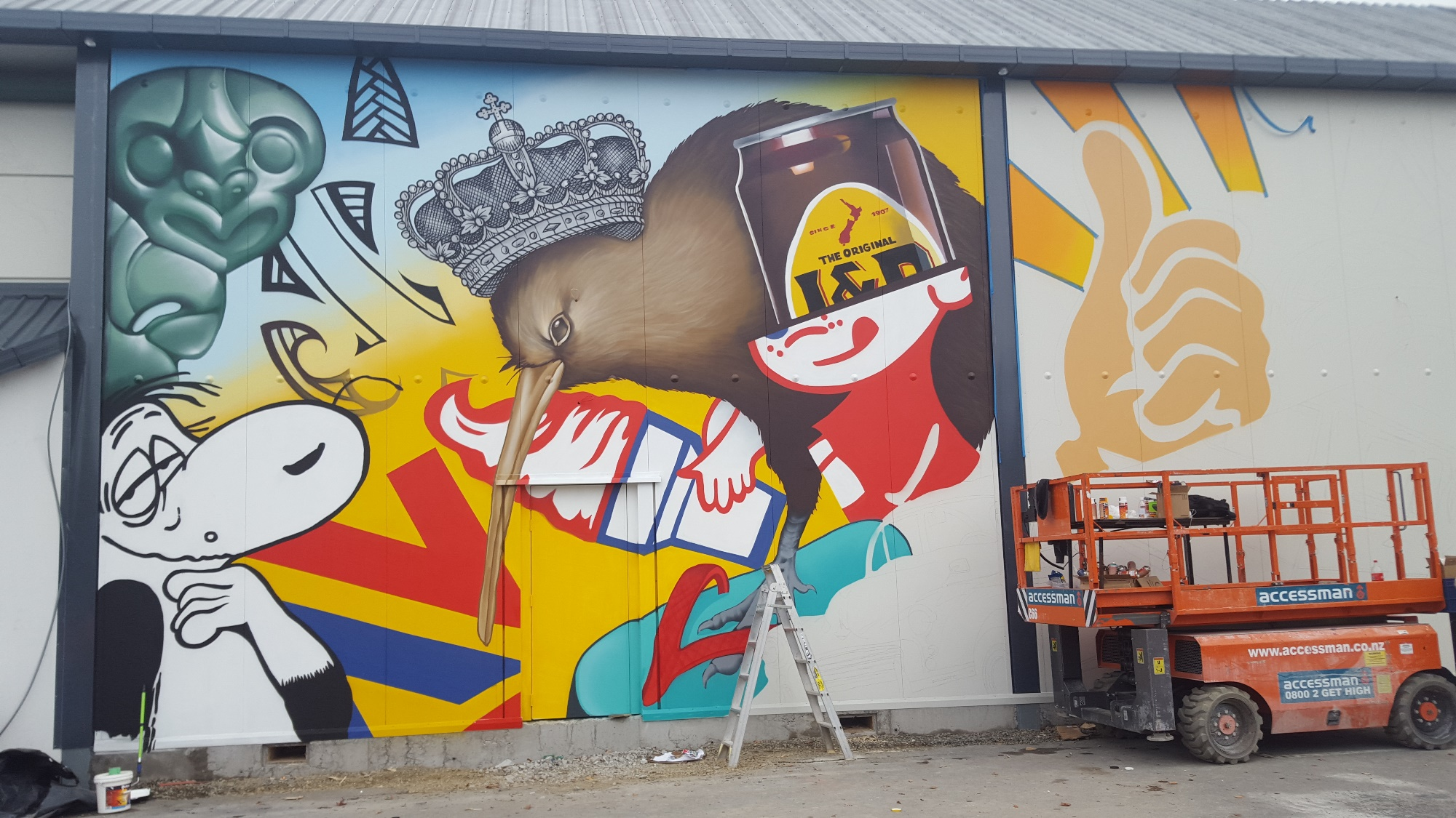 The wall taking shape 2, Dcypher Mural 2016 Christchurch