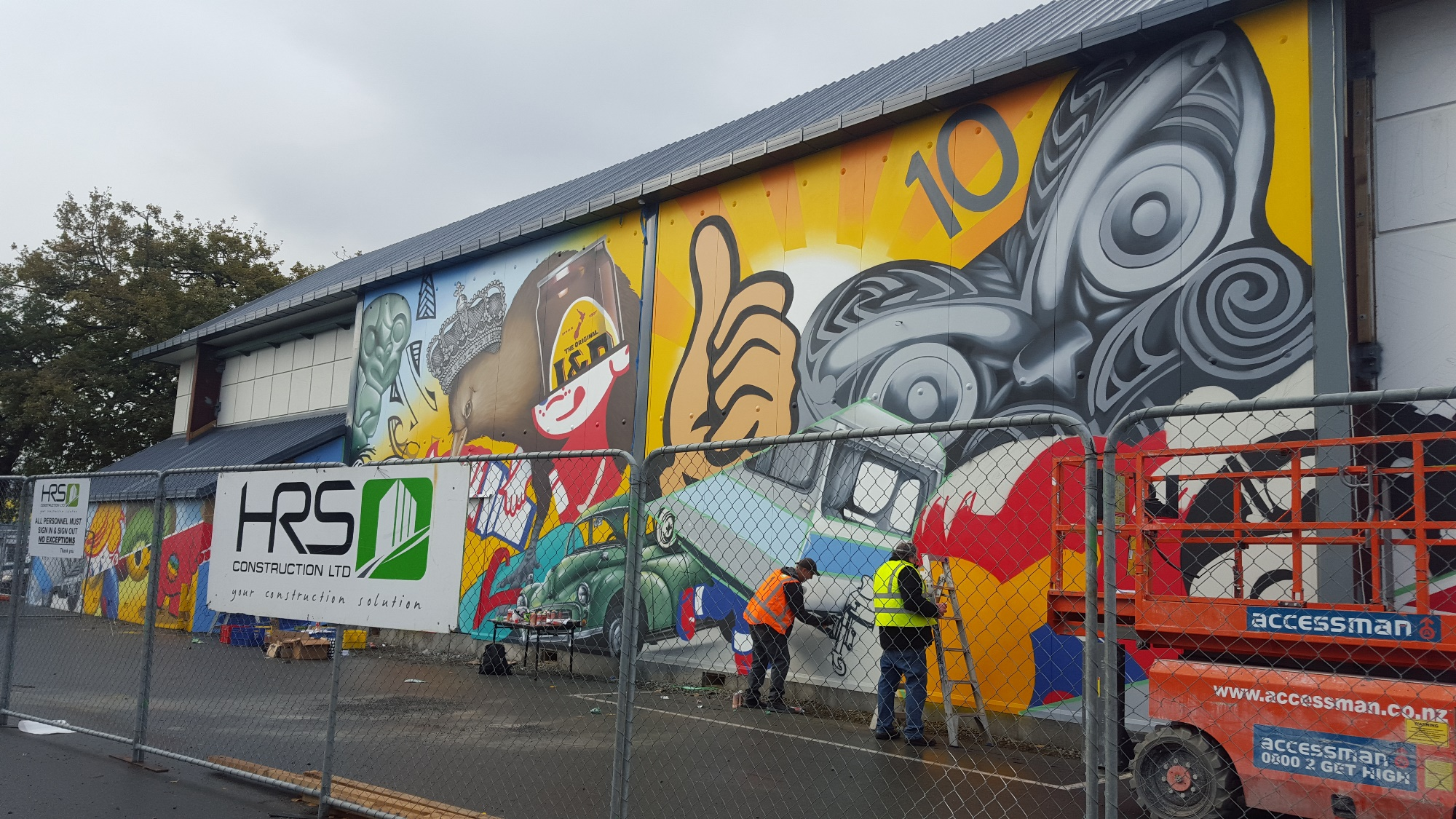 The wall taking shape 4, Dcypher Mural 2016 Christchurch